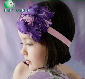 cute BABY HEADBANDS feather hair tie hairbands girls' headwear children's head band