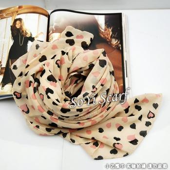 Faux silk long design velvet chiffon scarf peach heart of love