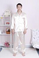 Light Gold FREE SHIPPING Men's Pajamas Sleepwear Nightwear silk satin size M L XL XXL