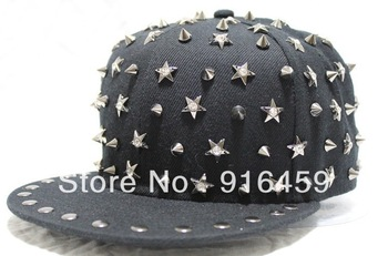 PromotionJune New style! Free shipping PUNK black The crystal  Hiphop baseball snapback Rivet Spike studded Dance Cap hats