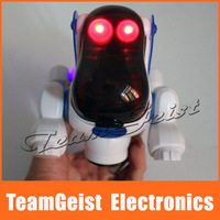 EMS Free shipping 12pcs/lot NEW Electric robot dogs pet dog toy with music shine Lights Walking Puppy Toys Gift For Kids Learn