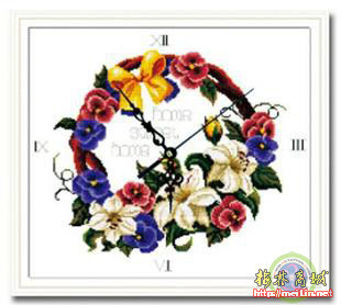 Stella free shipping Cross stitch wall clock zy-5005 lily garishness 11ct