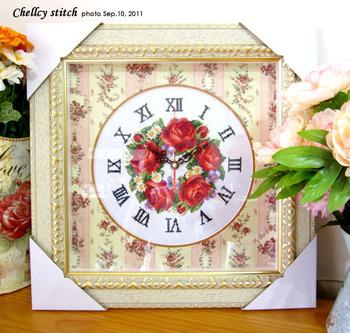 Stella free shipping Dmc cross stitch sy836 rose clock indicator table-core