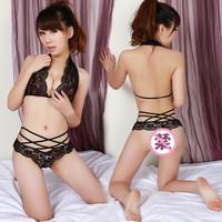 Ultra-thin halter-neck lace bra cup twinset decorative pattern sexy bikini 5072