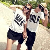 Summer lovers plus size loose casual letter white short-sleeve T-shirt beachwear lovers t-shirt set