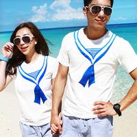 2013 summer lovers beachwear white navy t-shirt lovers short-sleeve t-shirt lovers design top