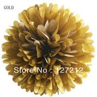 8inch Tissue Paper Pom Poms Wedding Decoration 10pcs/lot Gold