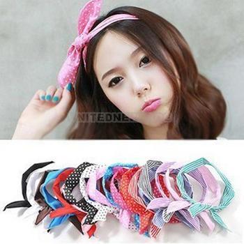 2pcs Popular Lovely Rabbit Ear Style Ribbon Decoration Chiffon Scarf Headband