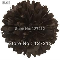 8inch (20cm) (20pcs/lot) Tissue Paper Pom Poms Wedding Decorative Flowers Wreaths Paper Ball Black Free Shipping