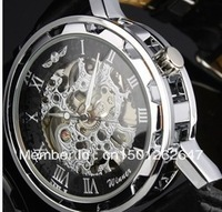 New New Black Face Skeleton Analog Display Watch Casual Mens Manual Wind Mechanical Wrist Watch