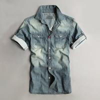 2014 Free Shipping Scotch soda shirt male short-sleeve denim coat thin water washed denim shirt