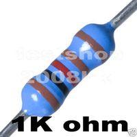 1000pcs x 1/4W  1k Ohm Resistors for for 24V LEDs