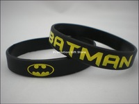 Printed Batman Logo Wristband, Silicon Bracelet, Promotion Gift, 202x12x2mm, Black Colour, 100pcs/Lot, Free Shipping