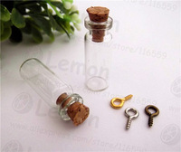 Free ship! 100pcss/lot 10x28mm Glass Bottles With Cork With eye hook Wishing bottle vial 1ML