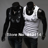 2013 fashion skull printing cheap tank tops men,mens stretch sleeveless tight tops&tees,casual slim round neck tank tops BX03