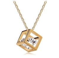 order $ 10 ,Free Shipping Hot Selling New arrival Factory Wholesales cube Crystal Pendant Long Necklace chain fashion jewelry