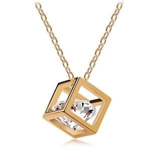 order $ 10 ,Free Shipping Hot Selling New arrival Factory Wholesales cube Crystal Pendant Long Necklace chain fashion jewelry(China (Mainland))