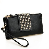 2013 small bag women's handbag long design clutch rivet color block day clutch fashion bag small bags
