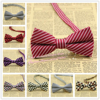 100pcs/lot,Brand new,42color,Men Classic plaid/Stripe pre-tied adjustable Tuxedo bowtie,mens cotton Bow tie/butterfly,Wholesale