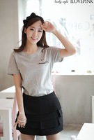 Women's short-sleeved T-shirt smiley casual female t-shirt free shipping