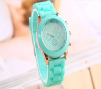 500pcs Mint green geneva Watch Jelly Three circles Display Silicone Candy Unisex Rubber watches for Girls Ladies Women