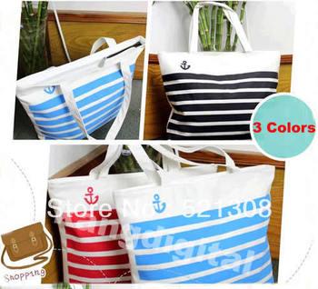 Fashion Stripes Canvas Shoulder Tote Handbag Travel Eco Recycle Shopping Bag New