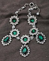 Fashion vintage party choker luxurious emerald green crystal rhinestone drop shape choker necklace