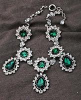 Fashion vintage party choker luxurious emerald green crystal rhinestone drop shape choker necklace
