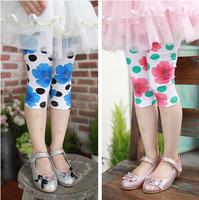Summer flower leggins for girls kids 100% cotton leggings for girls big dots Five pants child Shorts sweet girl wholesale 5PCS