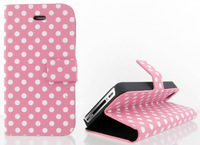 Polka Dot Folio Flip Stand Leather Case Cover For iPhone 4 4G 4S ,6 colors