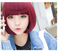 Cos wig qi bangs bobo multicolour Wine red short bobo fluffy short straight hair