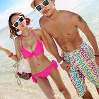 Neon pink bikini split swimwear women fashion big small hot spring swimsuit