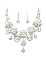 Alloy rhinestone bride crystal necklace earrings twinset popular accessories