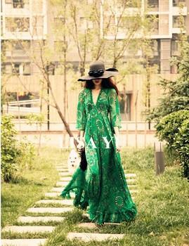 Watch !!! Cheap summer fashion beautiful luxury brand Original Retro Hot Chiffon V-neck trumpet sleeve dress S M L