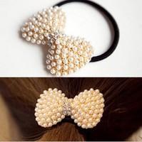 Min. order $9 Pearl rhinestone beautiful bow hair accessory headband hair rope TS031
