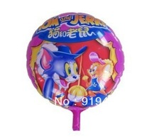 50PCS\LOT 18-inch Round Shape Tom And Jerry Foil Balloons Party Balloons Graduation Decoration Balloons Kids Inflatables Toys