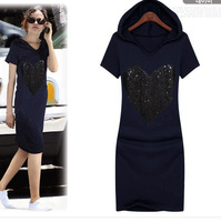 2012 New Summer Women Fashion Plus Size Clothing/Slim Casual Sequined Hooded One-piece Shirt Dress/XL/XXL/XXXL Free Shipping