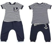 Free shipping 5sets/lot 2013 boy summer clothing suit navy style blue stripe t shirt +marine pant