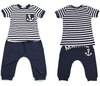 Free shipping 5sets/lot 2013 boy summer clothing suit navy style blue stripe t shirt +marine pant