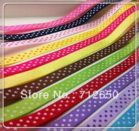 Free shipping 3/8'' (9mm) 24 yards mixed 12 colors Polka dots printed satin ribbon DIY garment hairbow accessory gift package