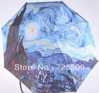 Van Gogh Oil Painting Screen Design Manual Folding Umbrella Free Shipping