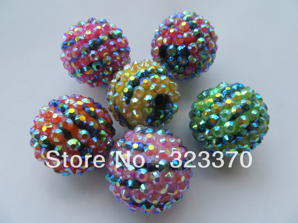 Newest colorful 22mm 100pcs a lot zebra rhinestone ball beads,Bling chunky ball beads for Jewely accessory(China (Mainland))
