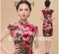 Chinese dress silk Cheongsam slim design short sleeves reformed cheongsam evening dress Pink S-XXXXL