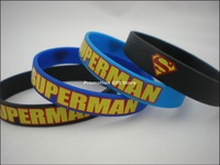 Printed Superman Logo Wristband, Silicon Bracelet, 3Colours, 202X12X2MM, Custom Design Wristband, 100pcs/Lot, Free Shipping