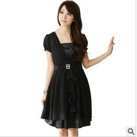 Free shipping 2013 Summer new layers of chiffon big yards short sleeve women's dress bow dress ladies' fashion dress XL--4XL
