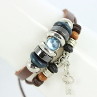 2013 New Fashion Multi layer Tribal Cuff Bracelets Blue Rhinestone Beads Key Charms Leather Womens Mens Cord Bracelet B025