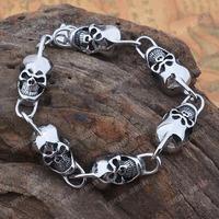 Free Shipping! 316 Stainless Steel High Polish Skull Heads Bracelet MEB192