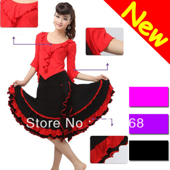 New Arrival Latin Salsa Tango Ballroom Dance Dress / Skirt + Shirt Suit 4 Colors For Choice