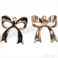 Fashion Design Bow Charms Enameled Black Gold Plated Alloy Pendants Fit European DIY 60pcs/lot Wholesale 20x18x0.3mm 144480