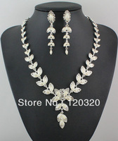(Min order $10,Mix Order ) Fashion Jewelry Silver Plated Clear Crystal Pearl Necklace Earrings Set